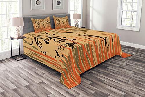 ABAKUHAUS Tierwelt Tagesdecke Set, Afrika Tiger Dschungel, Set mit Kissenbezügen Sommerdecke, für Doppelbetten 220 x 220 cm, Orange Pfirsich