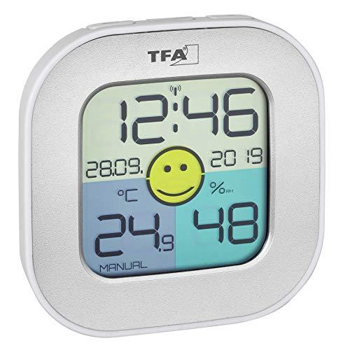 TFA Dostmann Hygrometer Fun, innen, digitales Thermometer, Luftfeuchtigkeitsmessgerät, silber