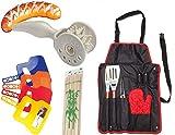 rukauf Grill Set - Caract Wurstroller + Grillschürze(inkl. Besteck) + Fächer(Weher) + Holzspiesse