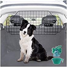 Heavy-Duty Dog Car Barrier, Pet Divider for SUV or Wagons + Free Bonus Collapsible Bowl & Waste Dispenser and Bags, Strong Steel Mesh with Adjustable Panels (Car Barrier (with FREE Bonus))