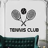wZUN Etiqueta de Vinilo Tennis Club Tatuajes de Pared Raqueta Deportes Arte de la Pared extraíble 63x51cm