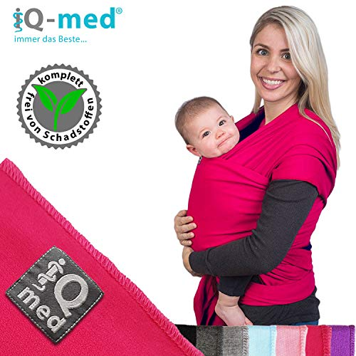 iQ-med Babytragetuch | für Neugeborene, bis 15 kg | BIO | atmungsaktiv | + Anleitung (Pink)