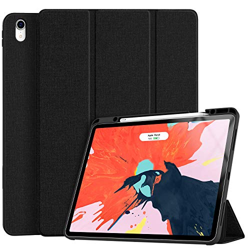 Soke iPad Pro 12.9 Case 2018 with Pencil Holder, Premium Trifold Case [Strong Protection + Apple Pencil Charging], Auto Sleep/Wake, Soft TPU Back Cover for iPad Pro 12.9' 3rd Gen(Black)