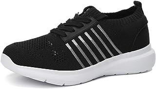 Zapatillas de Deporte Casuales para Mujer Moda Color sólido Transpirable Ahueca hacia Fuera Malla con Cordones Top bajo Za...