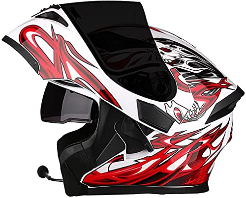 GPFFACAI Casco Integral Moto Mujer Cara Completa Motocicleta Todoterreno Casco Bluetooth Cubierta de Lluvia Plegable Cubierta de Lluvia Doble Parasol Motocicleta Frontal modular617(Color:A;Size:M)