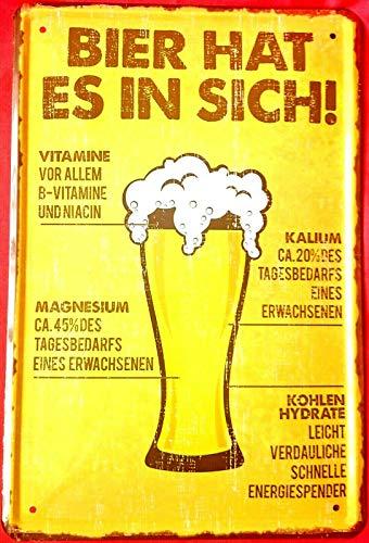 Tin Sign Blechschild 20x30 cm Bier hat Vitamine Magnesium Kalium Spruch Weißbier Bar Kneipe