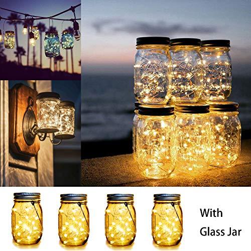 WERTIOO 4 Pack Solar Mason Jars Lights,30 LEDs Hanging Solar Lanterns Garden Decor Outdoor Lights Warm White Table Decor Fairy Lights for Patio Wedding Christmas Party (4 Pack)