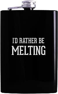 I'd Rather Be MELTING - 8oz Hip Alcohol Drinking Flask, Black
