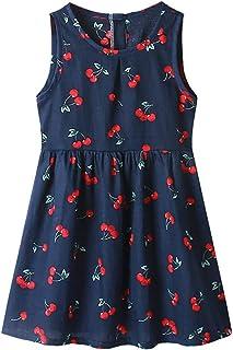فساتين الفتيات الصغيرات الأزهار بدون أكمام للأطفال كاجوال فستان الشمس ملابس الصيف