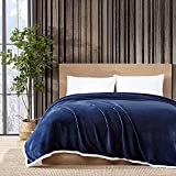 Eddie Bauer Home Solid Collection | Blanket-Reversible Plush Fleece & Faux Shearling Bedding, Ultra Soft & Cozy, Twin, Navy