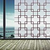 N / A Mattierte undurchsichtige Glasfensterfolie Aufkleber brauner Gitterbalkon Selbstklebende Privatsphäre Aufkleber Hauptdekorationsfolie A45 45x100cm