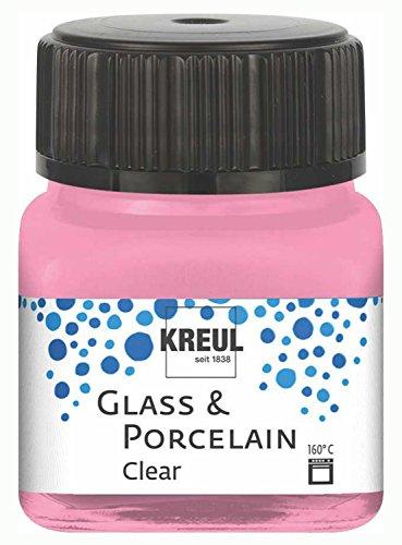 Kreul 16294 - Glass und Porcelain Clear, transparente Glas- und Porzellanmalfarbe auf Wasserbasis, schnelltrocknend, glasklar, 20 ml im Glas, rosa