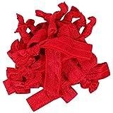 Hair Ties 20 Elastics Ponytail Holder Set No Crease Ribbon Bands (Red)
