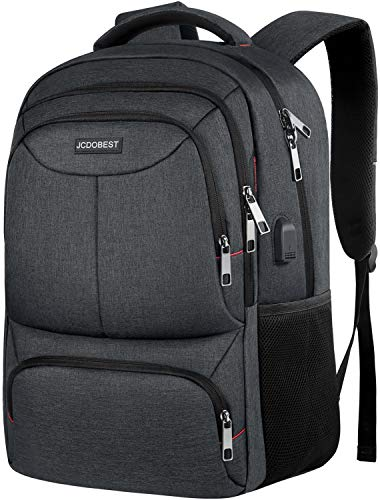 Travel Laptop Backpack, Slim Durable College High School Student Bookbags with USB Charging Port, Water Resistant RFID Business Computer Backpacks Gifts for Men Women Fits 15.6 Inch Laptops, Black