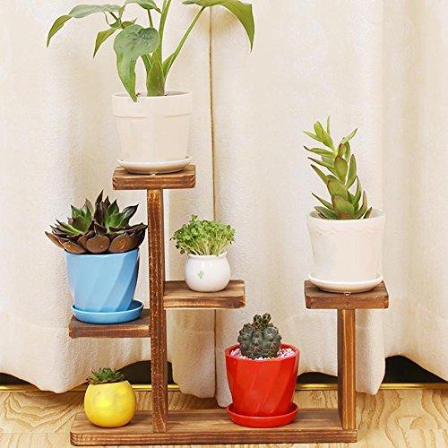 LLLXUHA en Bois Multi-Couche Mini Support de Fleurs, intérieur Simple Bureau Présentoir, Balcon Succulentes Cadre de bonsaï,35 * 10 * 30cm, Couleur de Carbone