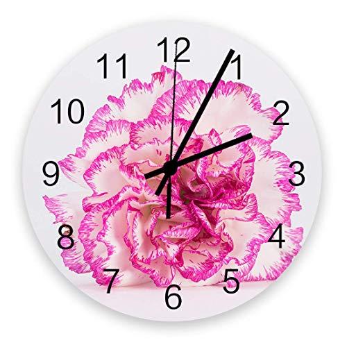 Día de la Madre Hermoso Clavel Relojes de Pared Redondos de Madera Grandes, Reloj de Pared silencioso Moderno para la decoración de la Sala de Estar del Patio de la Oficina 10 '' Diámetro