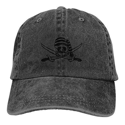 REAL PEAZ Gorra de béisbol de algodón lavado, sombrero de sol clásico deportivo informal, color sólido ajustable, ligero, transpirable, calavera de pirata suave con espadas, gorra de béisbol a