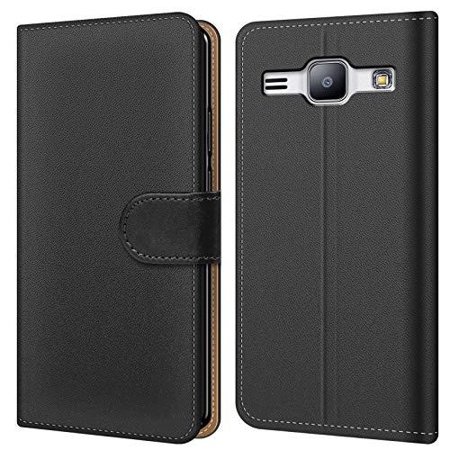 Conie BW30467 Basic Wallet Kompatibel mit Samsung Galaxy J1 2016, Booklet PU Leder Hülle Tasche mit Kartenfächer & Aufstellfunktion für Galaxy J1 2016 Case Schwarz