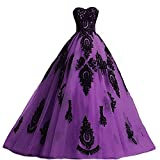 Long Ball Gown Black Lace Gothic Corset Formal Evening Prom Dresses Purple US 12