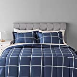 Amazon Basics 7-Piece Lightweight Microfiber Bed-in-a-Bag Comforter Bedding Set - Full/Queen, Navy with Simple Plaid