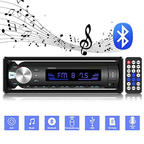 Autoradio mit Bluetooth Freisprechung, ODLICNO MP3 Autoradio mit Fernbedienung 7 Beleuchtungsfarben LCD Bildschirm Single Din Universal Stereo Autoradio AUX TF USB FM Mikrofon MP3-Player Empfänger