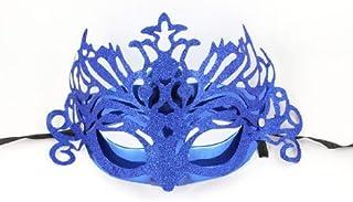 Fiesta Baile de disfraces Gras polvo del Brillo acento plástico máscara Azul