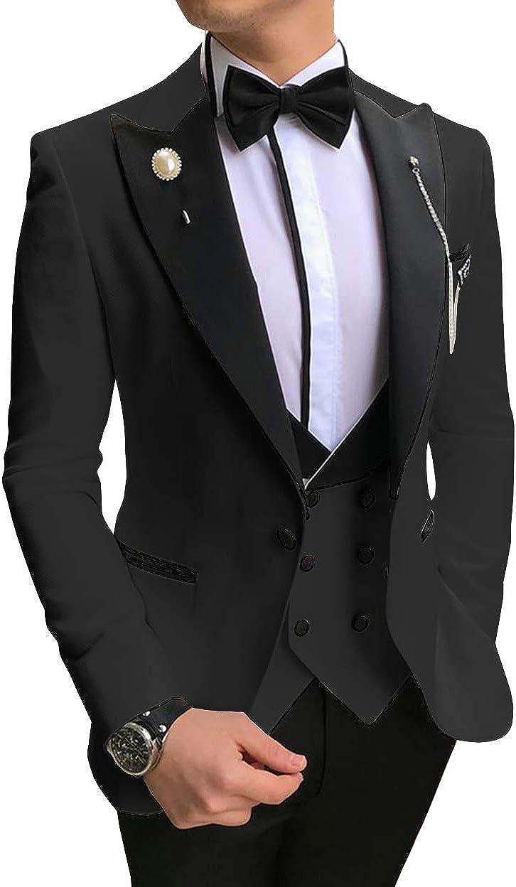 ToonySume Men's Casual Suits Slim Fit 3 Piece Notch Lapel Prom Tuxedos(48,Black)