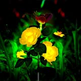 Mr.Twinklelight Solarleuchte Garten, Solar Rose Blumen Garten Lampen 3 Kopf Solarlicht mit Schmetterling LED Lichter Außen Dekoration Lichter für Garten/Rasen/Feld/Terrasse (Gelb)