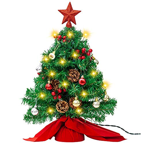 """Joiedomi 23"""" Prelit Tabletop Christmas Tree with 100 Branch Tips and DIY Kits (50 Warm White Lights, Red Star Treetop & Ornaments) in Red Cloth Bag for Best Christmas Decorations"""