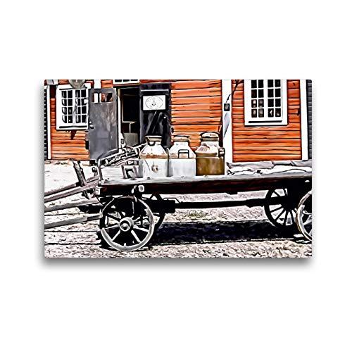 CALVENDO Premium Textil-Leinwand 45 x 30 cm Quer-Format Alter Milchkarren, Leinwanddruck von Sonja Teßen