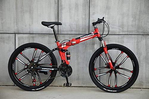 AUTOKS Multipliable Sports/VTT 24/26 Pouces 10 molettes, Rouge