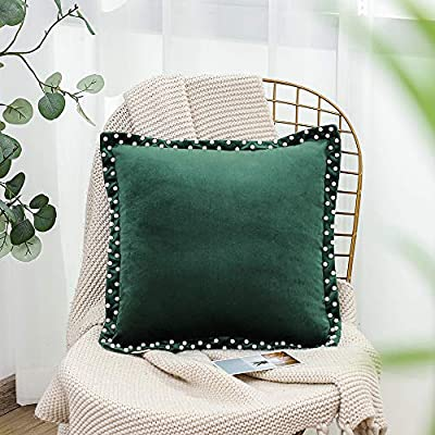 SOFTNOW Throw Pillow Covers Soft Velvet Pearl Decorative Pillows Solid Square Cushion Pillowcase for Sofa Couch Bedroom car, 18 x 18 inches,Green