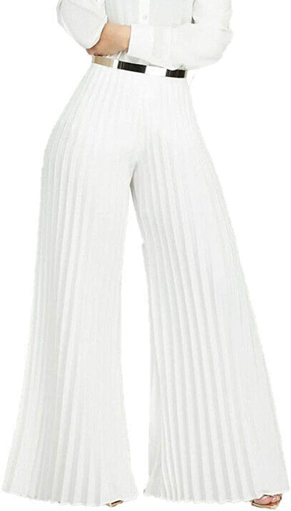 VEZAD Store Casual Wide Leg Loose Pleated Palazzo Pants Women High Waist Solid Trousers