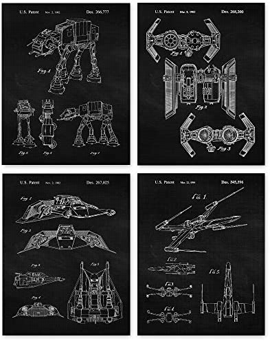 Vintage Star Wars Patent Art Poster Prints Set of 4 11x14 Unframed Photos Great Wall Art Decor product image