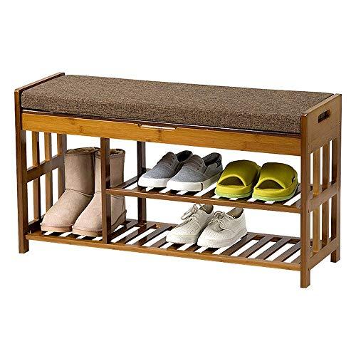 LIPENLI Bastidores de Zapatos de Madera Banco de Zapatos con Asientos, 2-Tier Zapatero for Puerta de Entrada Pasillo, Zapatos Organizador Ahorro de Espacio Fácil Ensamble (Color: Marrón, tamaño: 90 *