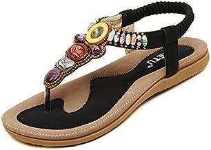 Life Plaza Women Bohemia Style Flower Beads T-Strap Flip Flop Flats Slip On Thong Sandals (8 B(M) US/39EU, Retro Black)