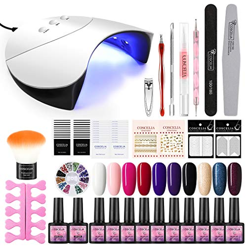 GROOMY Nail Kit, 10 Colors Gel Nail Polish Kit Semi Permanent 36W USB LED Lamp Manicure Tool