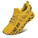 Lingmu Zapatillas deportivas para hombre, ligeras, transpirables, antideslizantes, color Amarillo, talla 40 EU