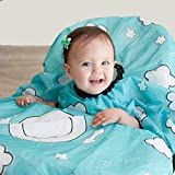GRABEASE All Over Bib for Babies and Toddlers, BLW Bibs Covers Baby and high Chair, Place Food on Plate Outline Design Make self Feeding a Breeze for Parent and Child, Teal