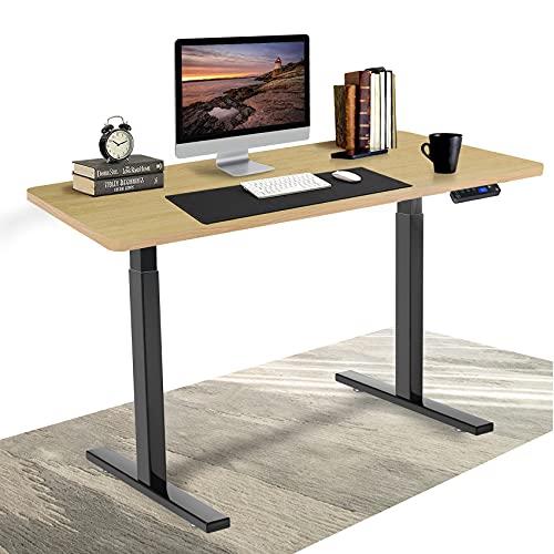 DCHOUSE höhenverstellbarer Schreibtisch elektrisch mit 2 Motoren Schreibtisch höhenverstellbar mit Memory, Kollisionschutz Funktion, mit 115x60cm Spanplatte Tischplatte (Eiche, Gestell Schwarz)