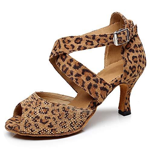 HIPPOSEUS Mujeres Salón de Baile Latino Zapatos Rhinestones Suela de Ante, Modelo...