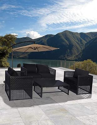 WO WESTIN OUTDOOR Siesta 4 Piece Wicker All-Weather Resin Rattan Black Wicker Modern Conversation Sofa Set with Removable Cushions & Coffee Table
