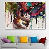 Orlco Art Póster Impresión de pared Lienzo abstracto de pareja abrazando cuadros de pared para sala de estar decoración de pared coloridos 48 x 32 pulgadas