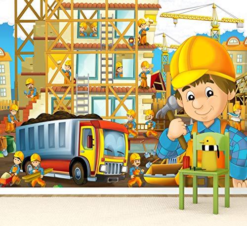 Vlies Tapete Poster Fototapete Kinderzimmer Baustelle Bauarbeiter Farbe color, Größe 100 x 80 cm