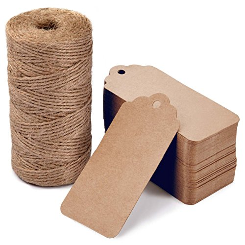 100 PCS Gift Tags with 328 Feet Jute Twine,LOOMY Printable Blank Kraft Paper Tags for Arts Craft Projects Party Wedding Favor Celebration Brown