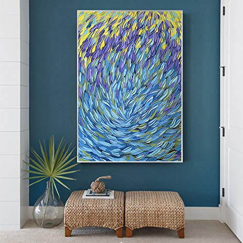 NIMCG Obra de Arte Lienzo Pintura Abstracta pez Lienzo océano mar Azul decoración del hogar Arte de la Pared Imagen para Sala póster y reproducción de impresión (sin Marco) A1 30x45 cm
