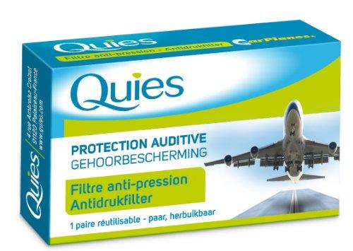 Quies - Protection Auditive EarPlanes - Filtre anti-pression - Adulte boite de 1 paire réutilisable