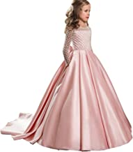 Aubbly Girls Flower Vintage Floral Lace Long Sleeves Floor Length Dress Wedding Party Evening Formal Pegeant Dance Gown