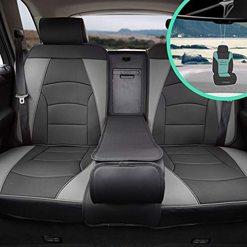 FH Group PU205013 Ultra Comfort Highest Grade Faux Leather Seat Cushions (Gray) Rear Set with Gift – Universal Fit for Cars Trucks & SUVs