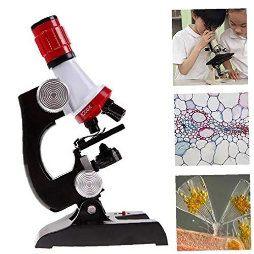 Los Equipos De Ciencia Para Niños Kit Microscopio Principiante Microscopio Con Luz 100X 400X 1200X De Aumento